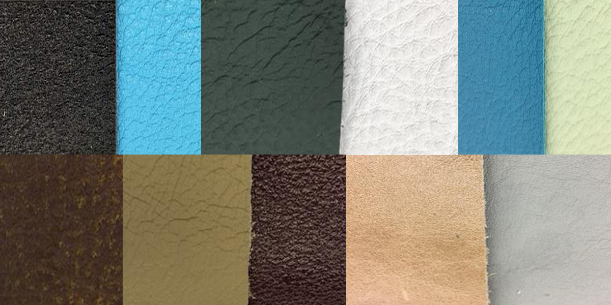 A collection of leather swatches of various colors and textures
