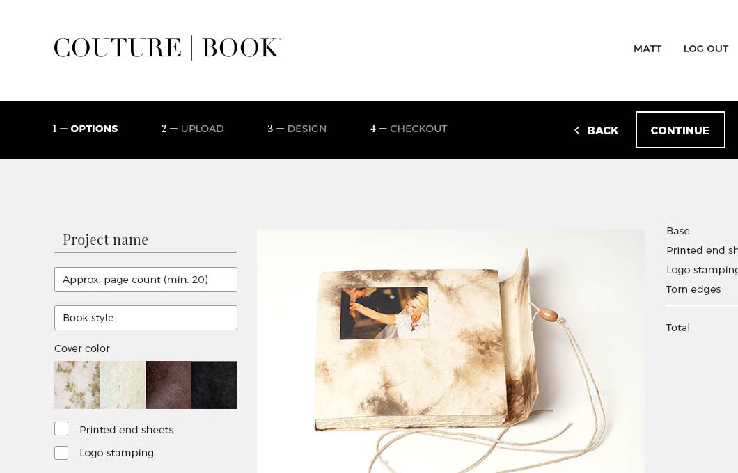 A screenshot of Couture Book's new ordering process