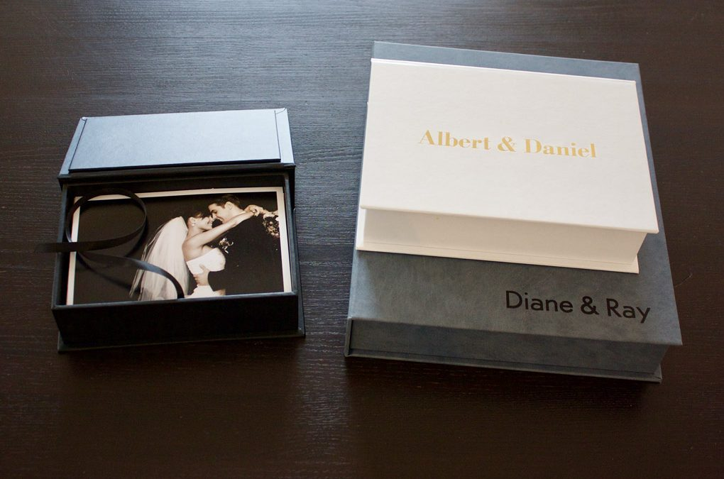 Three Couture Book custom photo boxes with stamping